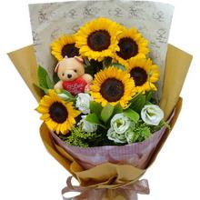 6支向日葵,7支桔梗或白色玫瑰,搭配可爱公仔1个,间插黄莺、绿叶点缀