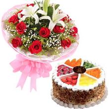 16枝紅玫瑰,2枝多頭白百合,滿天星、黃鶯、綠葉間插;圓形水果蛋糕