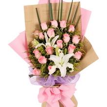 18枝粉玫瑰,1枝多頭白百合,黃鶯間插