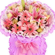 12枝粉色扶郎,2枝多头粉百合,桔梗、黄莺间插
