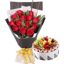 11枝紅玫瑰,綠葉間插;圓形水果蛋糕