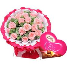 19枝粉玫瑰,葉上花間插;一盒德芙心語巧克力98克