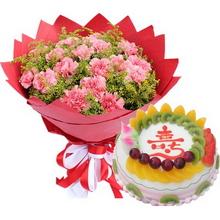 19枝粉色康乃馨,黃鶯間插;圓形祝壽水果蛋糕