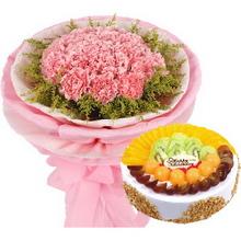 18枝粉色康乃馨,黃鶯外圍;圓形水果蛋糕
