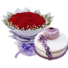 99枝紅色康乃馨,滿天星、黃鶯外圍;上層8寸心形,下層12寸圓形的雙層鮮奶蛋糕