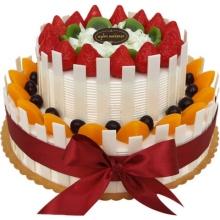 12寸+8寸双层圆形水果蛋糕,白色巧克力屑、水果铺面,白色巧克力片围边