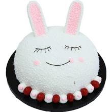 圓形生肖兔鮮奶水果蛋糕,卡通兔造型,水果點綴
