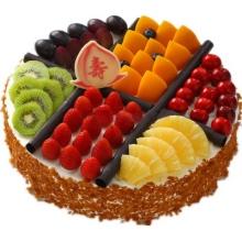 圓形祝壽水果蛋糕,水果分格鋪面,花生碎圍邊