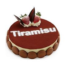 圓形提拉米蘇蛋糕,水果、巧克力裝飾點綴,馬卡龍底部圍邊