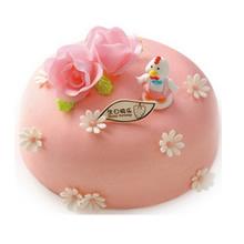 圓形翻糖蛋糕,玫瑰花、卡通小鴨搭配(提前咨詢確認)