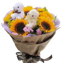 9枝向日葵(提前咨询),绿叶水晶草或黄莺间插,随机赠送两只可爱小公仔(配花没有的可采用相似性花材替代)