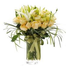 11枝香檳玫瑰,8朵白色香水百合,桔梗,綠草圍邊,綠色緞帶搭配(因季節地域局限,配花可更換同等價位花材)