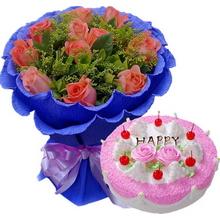 11支精品粉玫瑰,搭配黃鶯、綠葉+ 圓形鮮奶水果蛋糕
