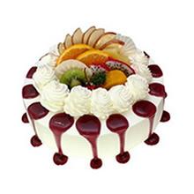 圓形冰激凌蛋糕,中間各式水果鋪面,冰激凌裱花,藍莓果醬圍邊裝飾