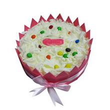 圓形冰激凌蛋糕,白色巧克力屑鋪面,巧克力豆點綴,粉色巧克力片圍邊