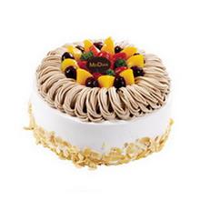 圓形栗子蛋糕,水果鋪面,栗子蓉絲圍邊,底部杏仁片外圍