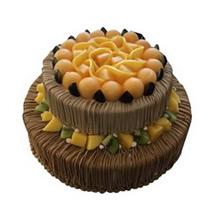 12寸+8寸雙層圓形鮮奶水果蛋糕,水果鋪面