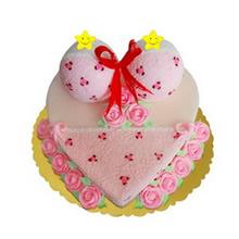 心形鲜奶比基尼蛋糕,粉色鲜奶玫瑰花装饰