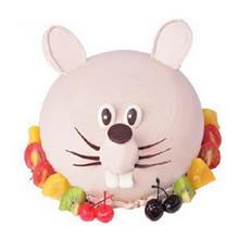 圓形生肖水果蛋糕,生肖鼠造型,水果底部圍邊