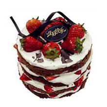 圓形巧克力水果裸蛋糕,巧克力蛋糕胚,草莓、巧克力裝飾鋪面,鮮奶、草莓夾層(三層夾層)