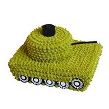14寸方形+8寸圓形雙層鮮奶蛋糕,鮮奶鋪面,坦克造型款式