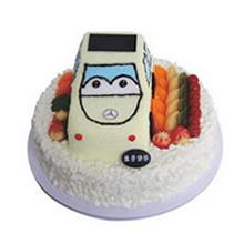 12寸圓形+8寸方形汽車水果蛋糕,上層汽車造型蛋糕,下層水果鋪面,白色巧克力屑外圍