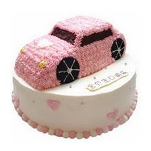 12寸圓形+8寸雙層汽車鮮奶蛋糕,粉色裱花汽車造型蛋糕