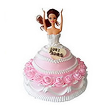 12寸圓形+8寸芭比雙層鮮奶蛋糕,粉色芭比造型,粉色鮮奶玫瑰花圍邊,粉色鮮奶裱花裝飾