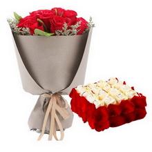 21枝红玫瑰,方形欧式鲜奶蛋糕