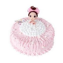 圓形鮮奶蛋糕,粉色鮮奶絲裝飾(芭比隨機搭配)