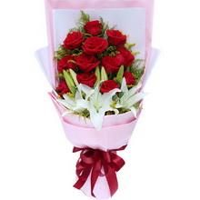 11朵紅玫瑰,2枝多頭白百合,黃鶯墊底