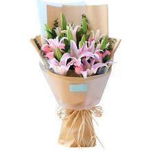 11朵粉玫瑰,4枝多頭粉百合,綠材間插點綴