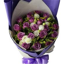 紫玫瑰,黃鶯、桔梗間插