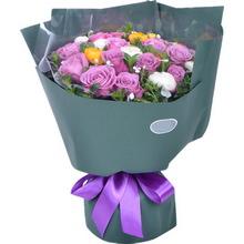 紫玫瑰,桔梗、葉上黃金間插