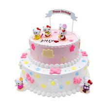 12寸+8寸双层圆形卡通鲜奶蛋糕,kitty卡通装饰,粉色系蛋糕