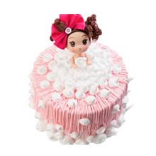 圓形卡通泡泡浴芭比鮮奶蛋糕,卡通芭比娃娃,粉色鮮奶絲鋪面,白色鮮奶球