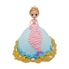 圓形芭比美人魚造型鮮奶蛋糕,鮮奶裱花,面包碎底部外鋪,海星、海螺等裝飾