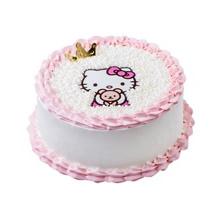 圆形鲜奶蛋糕,水果夹层,Kitty图案,鲜奶裱花