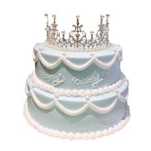 12寸+8寸雙層皇冠蛋糕,水果夾層,皇冠搭配,鮮奶裱花裝飾(皇冠裝飾已店里為準)
