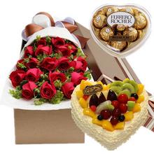 19朵紅玫瑰,黃鶯間插;心形水果蛋糕,各種時令水果鋪面;心形盒裝費列羅巧克力100g