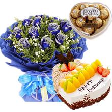 11朵藍玫瑰,滿天星、黃鶯間插;心形水果蛋糕;費列羅心形盒裝巧克力100g
