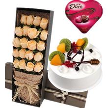 19支香檳玫瑰,綠葉間插;圓形水果蛋糕,時令水果、巧克力裝飾搭配;98克德芙心語盒裝巧克力