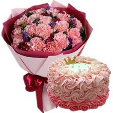 19朵粉色康乃馨,石竹梅、勿忘我間插點綴;圓形鮮奶蛋糕,粉色鮮奶裱花
