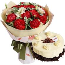 19朵紅色康乃馨,綠葉、桔梗間插;圓形巧克力蛋糕,巧克力屑裝飾