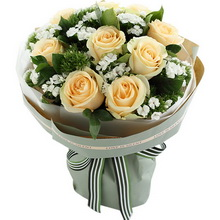 香槟玫瑰9枝,白色石竹梅适量搭配