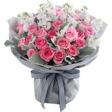 蘇醒玫瑰33枝、淺紫色紫羅蘭1扎(或尤加利葉)、銀葉菊1扎