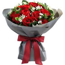 红玫瑰19枝,白色相思梅0.5扎,栀子叶1扎