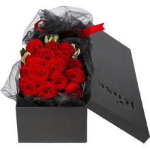 19枝精品红玫瑰,搭配尤加利叶