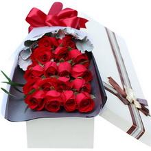 19枝紅色玫瑰,搭配綠葉