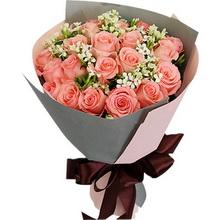 21朵粉玫瑰,搭配相思梅点缀